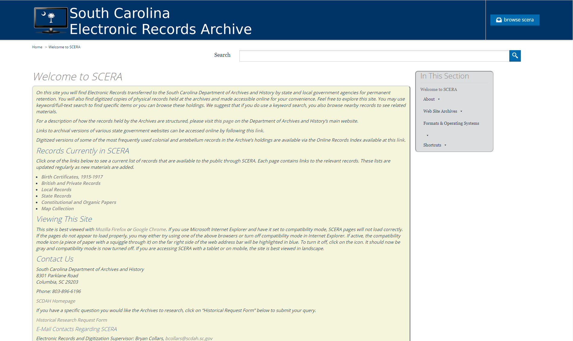 SC Electronic Records Archive